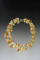 """A delightful double strand medley of pale yellow biwa pearls spaced with multi-toned jasper teardrops.  Double strand only.  20"""""""