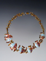 Cloisonne Fish and Pearl Necklace