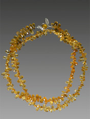 These faceted citrine briolettes are from my collection of many years ago. You won't find them now at an affordable price if at all. Perfect for this season's mix and match mood this delicate rope features mandarin orange citrine briolettes.  Wear it long and layered or doubled or tripled.  32""