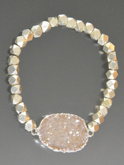Sterling silver hexagon bead  light champagne druzy stretch bracelet
