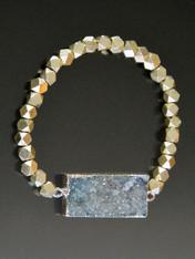 Sterling silver hexagon bead  light pale blue druzy stretch bracelet