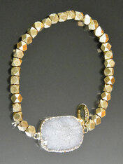 Sterling silver hexagon bead  white  druzy stretch bracelet