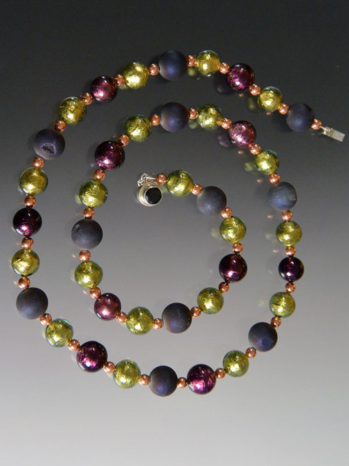 This new design in a few choices is my favorite new combo.  It features a medley of beautiful round beads - genuine shiny copper, rich purple druzy, Venetian dark and light sterling silver foil amethyst, and light olive Goes with every color in your wardrobe and is perfect for now.  Wear it long or doubled for a dimensional effect as you wish 36.5""