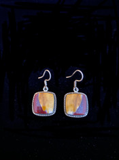 """These colorful dangle earrings feature large Australian moukaite cabochons wrapped in sterling silver.  They complement all the fall tones in your wardrobe. 1-1/4""""   Choose oval or square. Only one of each!"""