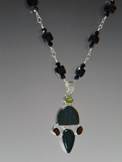 Black Spinel Garnet Peridot Silver Pendant Necklace- ONE OF A KIND (SOLD)