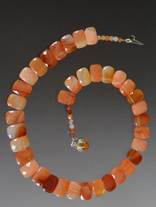 """For the person who wants to make an understated, expensive statement, this delicate, superb quality carnelian collar features perfectly matched faceted multi-shade carnelian.  18"""""""