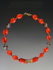 Klimt Red 24K Venetian Glass Swirl Necklace