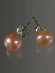Pink Pearl Sterling Stud Earrings