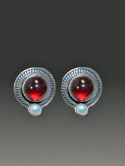SALE - Amy Kahn Russell Rhodolite Garnet Pearl Sterling Clip/Post Earrings