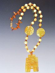 Vintage Bakelite and Amber Necklace with Hand-Carved Jade Pendant