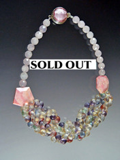Pink Opal Rare Multi Bubble Glass Bib - ONE OF A KIND