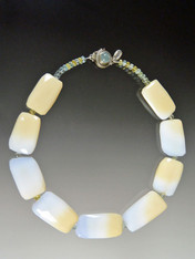 Natural Pale Blue And Yellow Brazilian Opal Aquamarine Collar - ONE OF A KIND