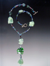 Raw Fluorite Necklace with Venetian Glass Fish Pendant