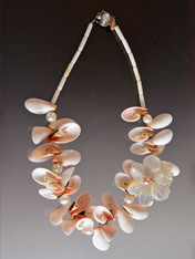 Shell and Pearl Necklace with MOP Blossom