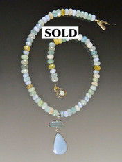 Aquamarine Necklace with Owyhee* Opal Aquamarine Sterling Pendant ONE OF A KIND