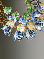 Cloissone Enamel Pearl Fish Necklace