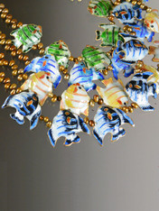 Cloissone Enamel Fish Pearl Necklace