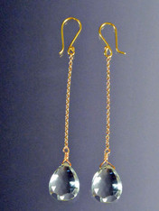 Faceted Green Amethyst 18K Dangle Earrings SOLD
