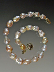 Grade AAA Petal Taupe Pink Silk Knotted Baroque Pearls