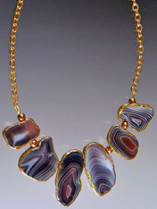 Multi-Toned Patterned  Gold Trimmed Agate on a Gold Chain