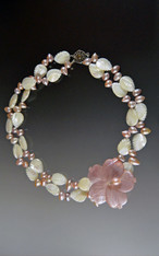 MOP Carved Leaf and Pearl Collar with MOP Blossom