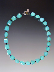 Step Cut Aqua Chalcedony Collar
