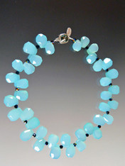 Aqua Faceted Teardrop Chalcedony Collar