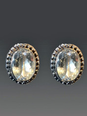SALE - FACETED WHITE TOPAZ STERLING CLIP/POST EARRINGS