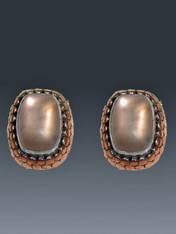 "RETAIL PRICE: $270..SALE $78  These charming and versatile Amy Kahn Russell earrings feature glowing frosted copper quartz cabochons set in a deep embossed copper and sterling frame. Perfect for day or night and so affordable.. 1-1/4""-3/4"" Clips; convert to posts for an additional $15 (Retail value $270)"