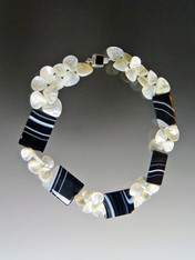 Black and White Agate Mother of Pearl Fan Necklace