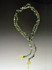Moss Agate Dice Jade Fish Lariat - ONE OF A KIND