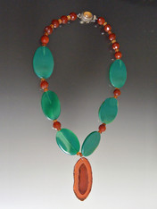 Green Agate, Carnelian,  Agate Pendant Necklace - ONE MORE!