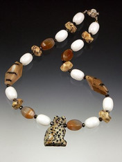 White Onyx Tiger Opal Agate Necklace with Dalmatian Jasper Cat Pendant