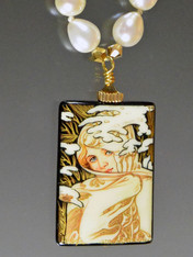 Hand Painted Russian Pendant Winter by Mucha Pearl Necklace