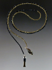 Micro Gold Pyrite Black Spinel Lariat with Pyrite In Magnetite Healer's Gold & Black Onyx Dangles-SOLD