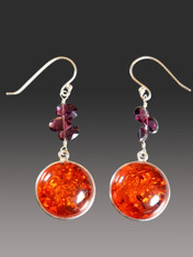 Garnet Baltic Amber Earrings