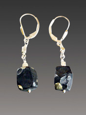 Rare Brazilian Natural Pyrite Ethically Mined Cube Sterling Earrings