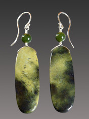 Green Jasper Jade Medium Sterling Dangle Earrings - ONE OF A KIND