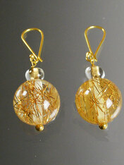 Art Deco Bakelite Rutilated Quartz 18K Earrings