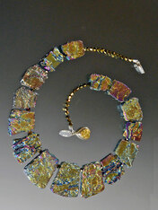 Raw Multi Gold Bronze Blue Geometric Jasper Crystal Coated Collar