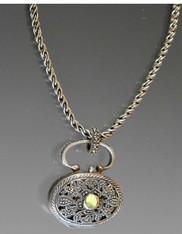 """Vintage Embellished Sterling Marcasite """"Poison"""" Locket with  Peridot Center"""