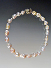 Grade AAA Gray / Pink Multi-toned Baroque Pearl Collar