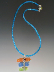Raw Kyanite Pendant on Micro Faceted Apatite Chain - One of a Kind