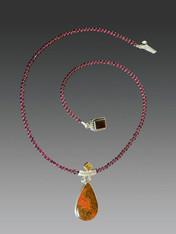 Rare Cady Mountain Agate Citrine Pendant on Garnet Chain - ONE OF A KIND