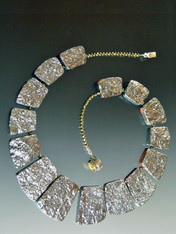 Silver Geometric Crystal Coated Collar