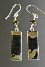 Pyrite In Magnetite  Healer's Gold* & Black Onyx Sterling Swarovksi Earrings - ONE OF A KIND