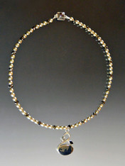 Pyrite In Magnetite Healer's Gold & Swan Pendant on  Pearl Sterling Chain ONE OF A KIND