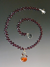 Amber Garnet Sterling Pendant on Faceted Rhodolite Garnet Chain