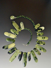 Rare Multi-Toned Green Jasper Bib - ONLY ONE