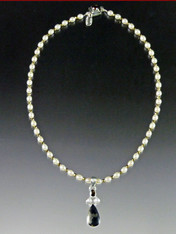 Pyrite In Magnetite - Healer's Gold Pendant on Pearl Sterling Chain - ONE OF A KIND